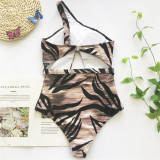 Summer Retro Irregular Pattern Swimsuit Hollow Belt One Piece Bikini Suit