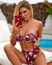 Red Amazon Women's Ruffle Swimsuit Solid Metal Ring Exquisite Bikini
