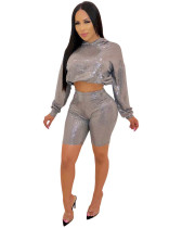 Euro-American nightclub sexy sequined long-sleeved hooded sweater tights two-piece