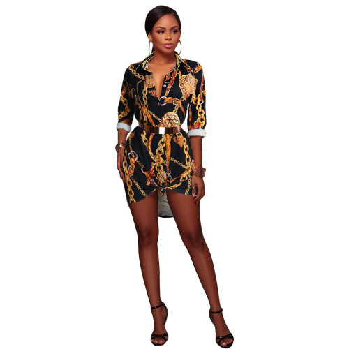 Black Hot Print Shirt Multicolor Women's Dress