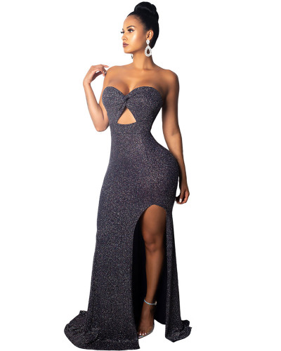 High split evening dress dress