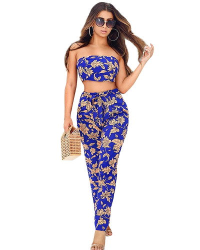 Royal Blue peach flower high waist tie two piece suit