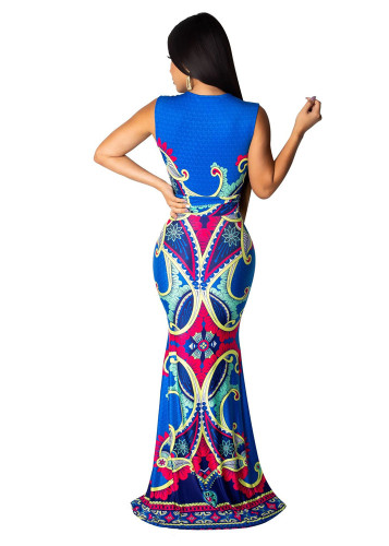 Blue Ethnic print dress