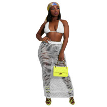 White 2020 New Hand-knit Hollow Beach Blouse Sexy Mesh Perspective Two-piece Set