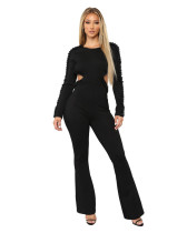 Beaded Beads Long Sleeve Backless Wide Leg Pant Jumpsuit