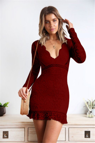 Red Amazon hot sale lace lace V-neck sexy slim dress