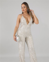 Sequined Sexy Sling Backless Jumpsuit