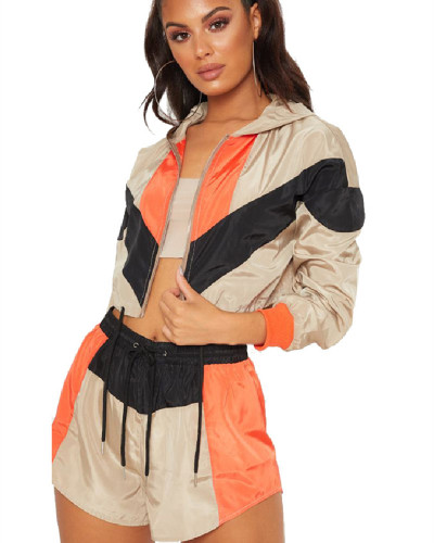 Khaki Casual Loose Long Sleeve Shorts Sports Suit