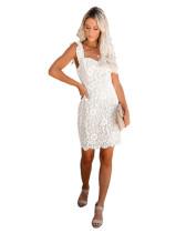 White Amazon Spring Sale Sexy Lace Eyelash Strap Dress