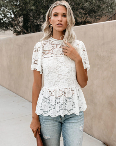 White Amazon New Euro-American style embroidery lace pullover short sleeve solid color round neck black and white two-color top