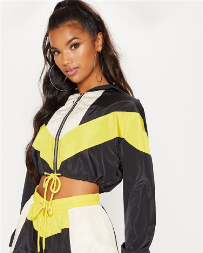 Yellow Casual Loose Long Sleeve Shorts Sports Suit