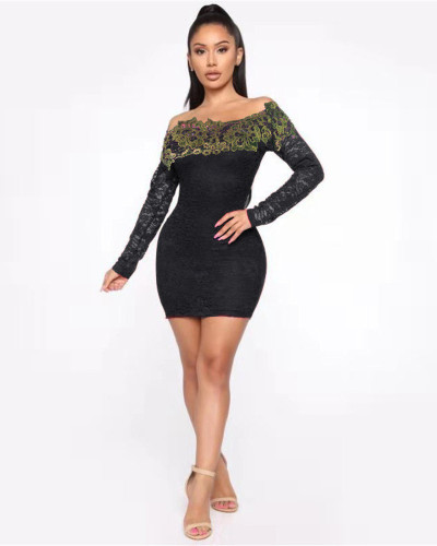 Black One-shoulder lace wrap hip sexy dress