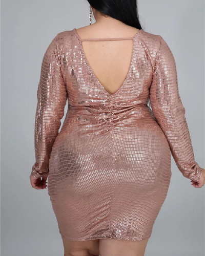 Rose gold Amazon hot sale 5XL fat woman fat woman cross-border XL women's V-neck sequin long dress