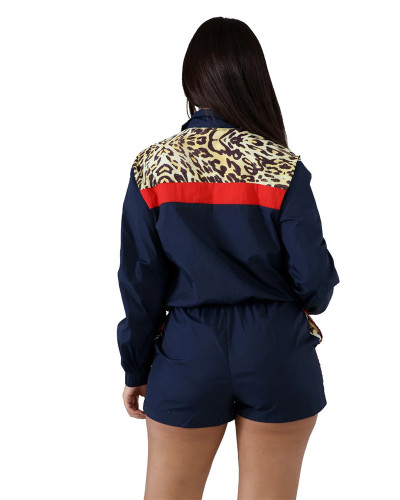 Dark bule Leopard stitching casual sexy fashion sports suit