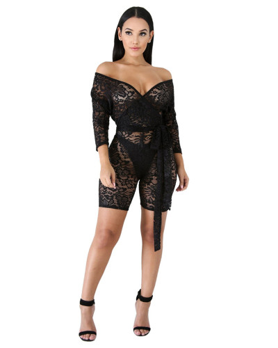 Lace Transparent Lace Up Deep V-Neck Sexy Slim Jumpsuit