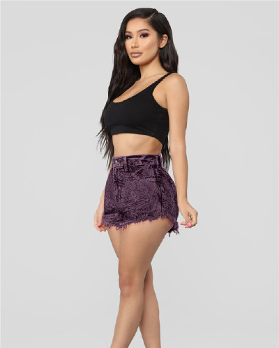 High Waist Casual Washed Distressed Women's Denim Shorts