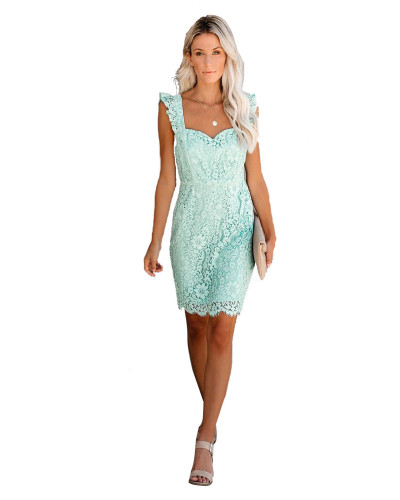 Cyan Amazon Spring Sale Sexy Lace Eyelash Strap Dress