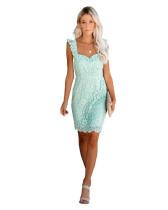 Cyan Amazon Spring Sale Sexy Lace Eyelash Strap Dress