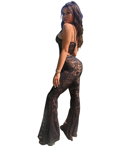 Women's wide leg pants with thin sling jumpsuit
