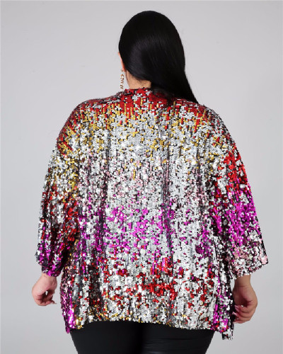 Euro-America XL spring new sequins fat woman female coat cape jacket 5XL