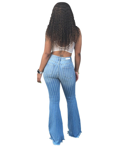 High Waist Striped Flare Jeans