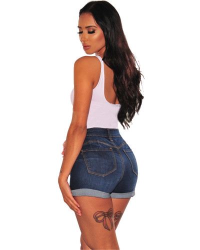 Casual Washed Distressed Women's Denim Shorts