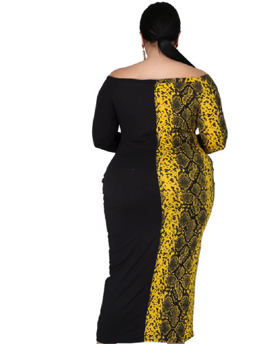 Amazon Euro-America oversize women's new color matching leopard print maxi dress