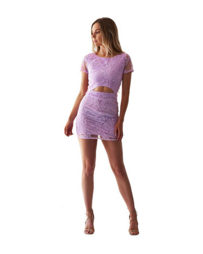 Purple Backless suit sexy nightclub skirt two-piece