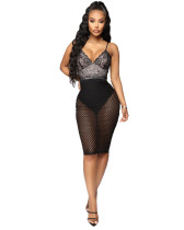 Sexy Backless Dress Skirt Deep V-Neck Dress