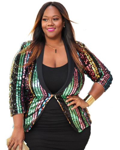 Cross-border XL new sequin fat woman coat cloak jacket