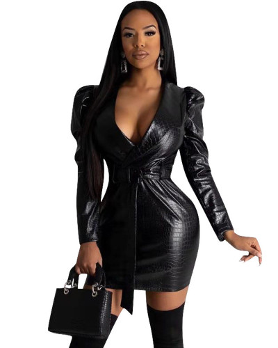 European and American women's fashion crocodile leather pattern dress suit leather skirt
