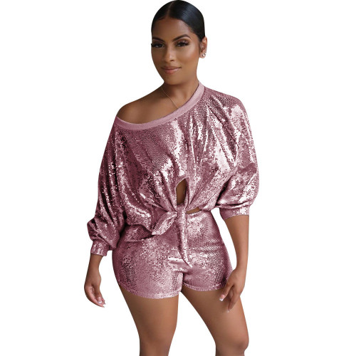 Amazon hot sale new pink sequin fantacy pants set with lined two-piece suit
