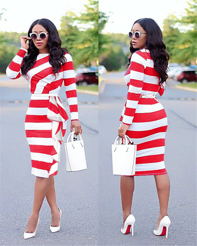 Red European and American women's autumn new long-sleeved ruffled mid-length dress