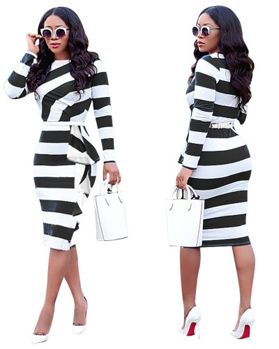 Black European and American women's autumn new long-sleeved ruffled mid-length dress
