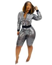 European and American women's autumn new bronzing fashion jacket two-piece