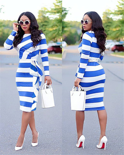 Blue  European and American women's autumn new long-sleeved ruffled mid-length dress