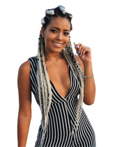 2020 New European and American Black and White Striped Deep V Women's Jumpsuit