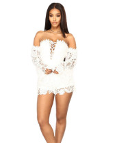 White Multicolor lace sexy slim jumpsuit