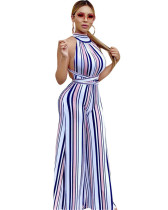 Amazon Hot Selling Fashion Sexy Striped Lace Strapless Jumpsuit