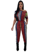 Digital positioning printed jumpsuit wide leg trousers