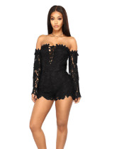 Black Multicolor lace sexy slim jumpsuit