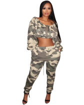 Europe and America hot selling fashionable women's exposed camouflage cover two pieces
