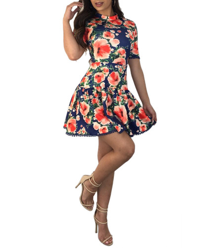 Fashion backless lace print summer dress