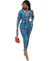 2020 New Fashion Blue Watercolor Print Spot Long Sleeve Jumpsuit