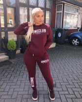 Round neck sweater casual sportswear suit