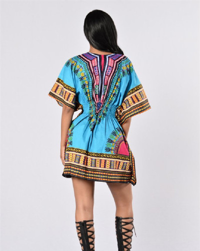 Retro ethnic and ethnic style, fashion short-sleeved dress
