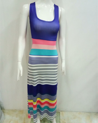 2 Bohemian style colorful striped dress