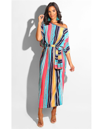 Printed striped diagonal shoulder all-match dress