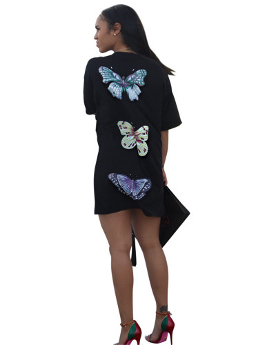 Fashion Letter QUEEN Butterfly Print Loose T-shirt