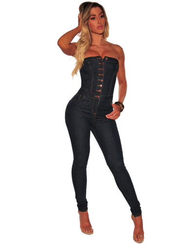 Wrapped chest strapless sexy denim jumpsuit